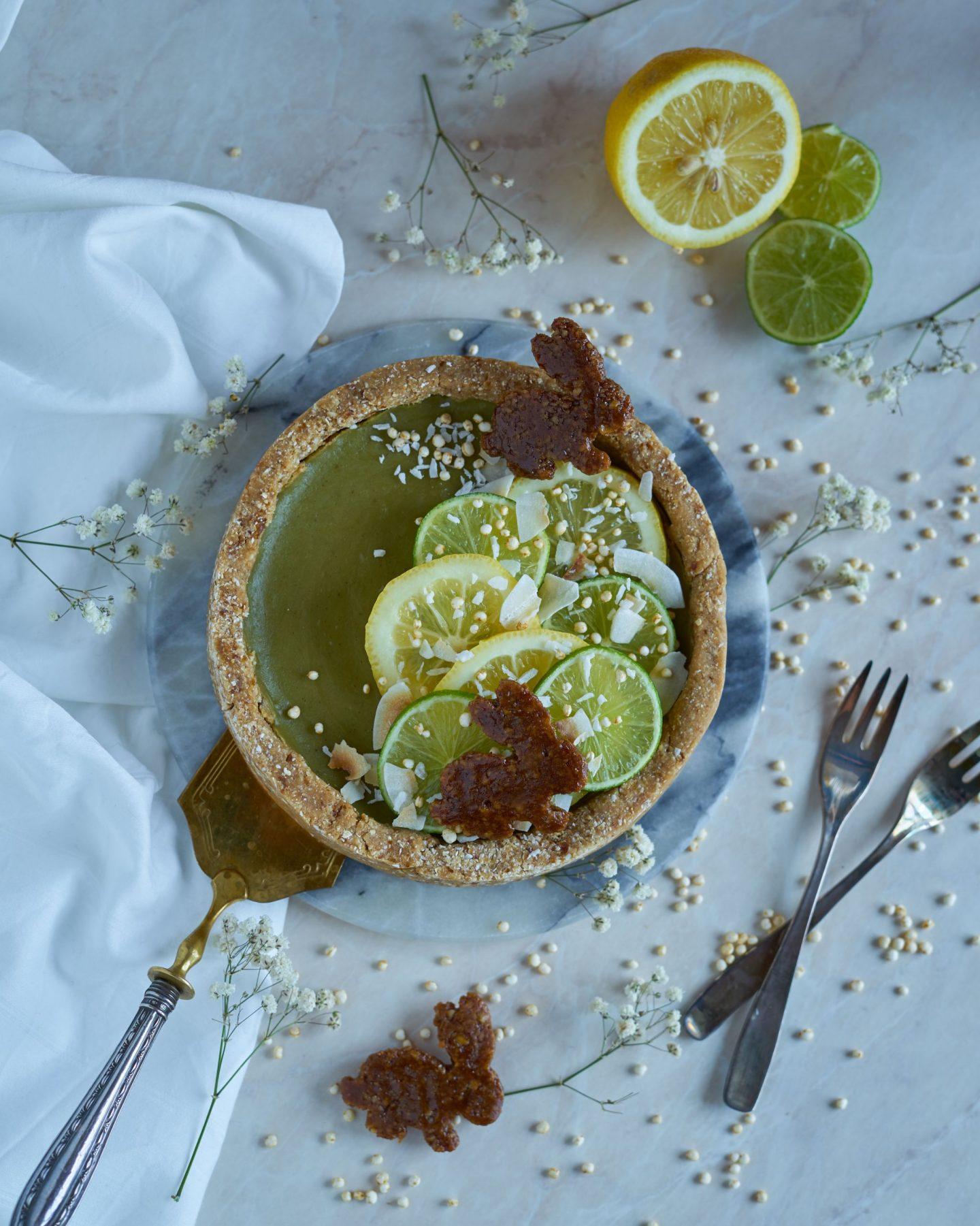 Matcha-Limetten-Frühlings-No-bake Kuchen (glutenfrei)