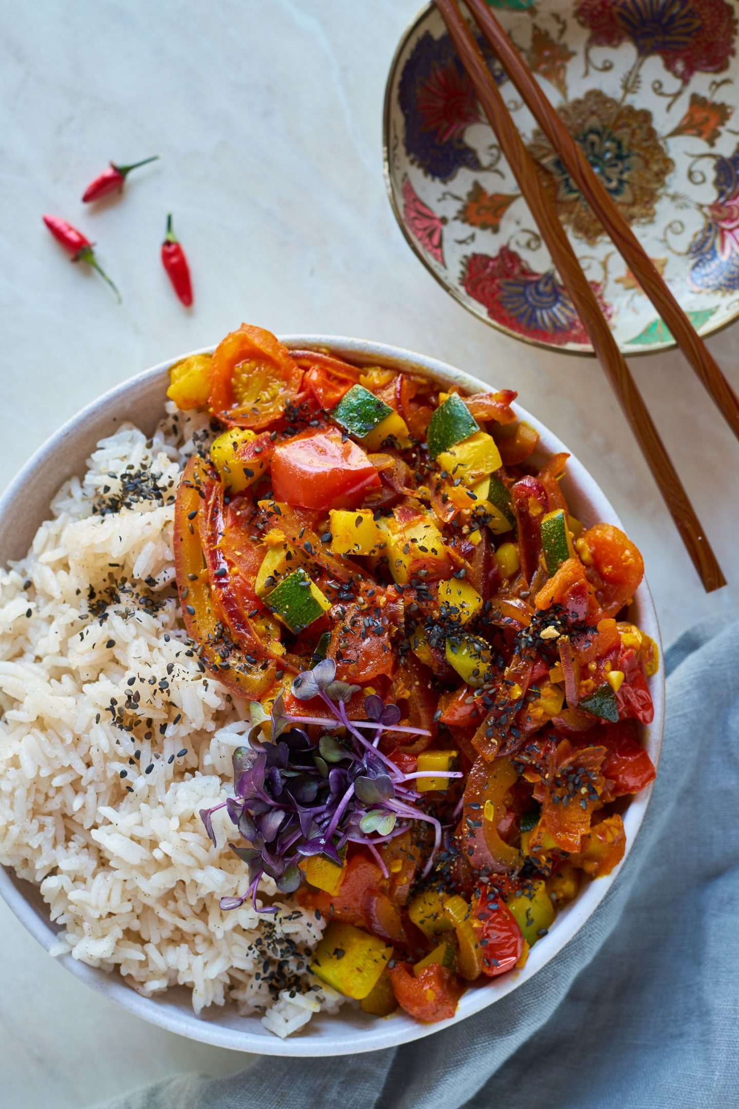 scharfes-Tomaten-Zucchini-Curry-ohne Kokosmilch